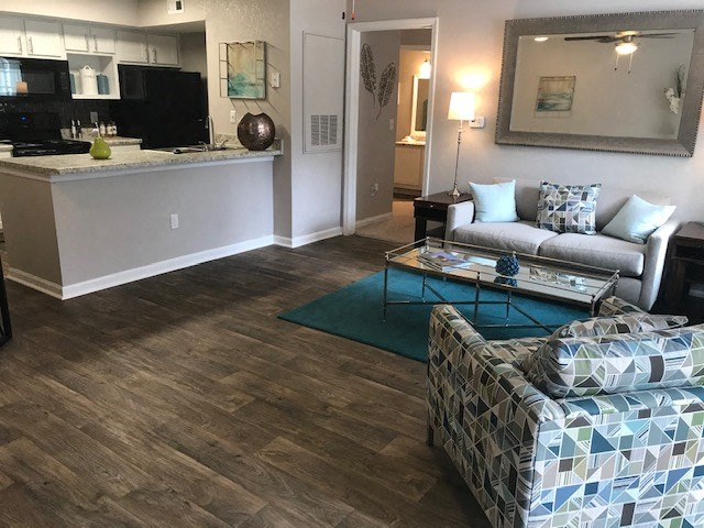 open concept living room and kitchen in Tallahassee apartment