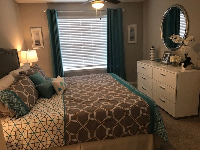 large bedroom in a tallahassee apartment with white dresser and blue gray bedding