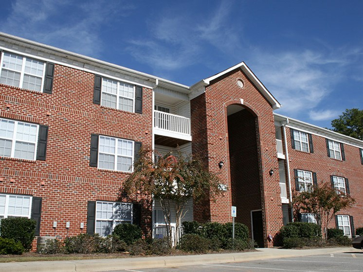 Exterior of Crescent Commons apartments in Fayetteville, NC