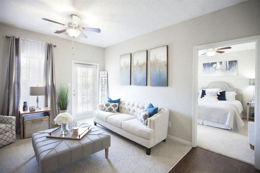bright furnished Interior living room in an August GA apartment