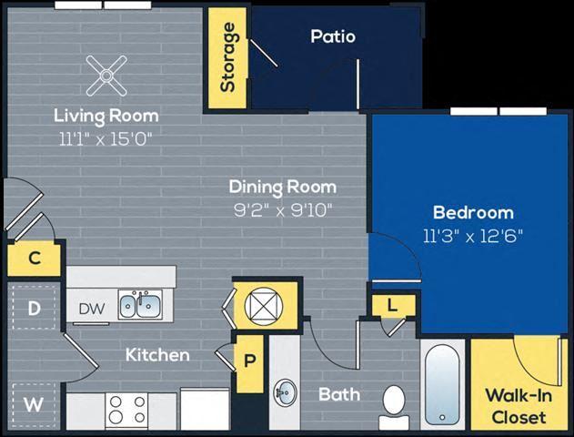 a 1 bedroom, 1 bathroom floorplan at Heritage at Riverstone Apartments in Canton, GA