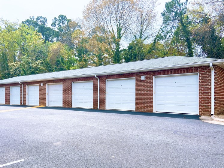 line of garages available for parking at Fayetteville NC apartments