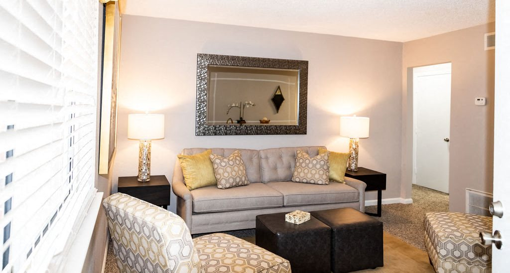 Interior living room apartment with couch  at Ascend at Savannah