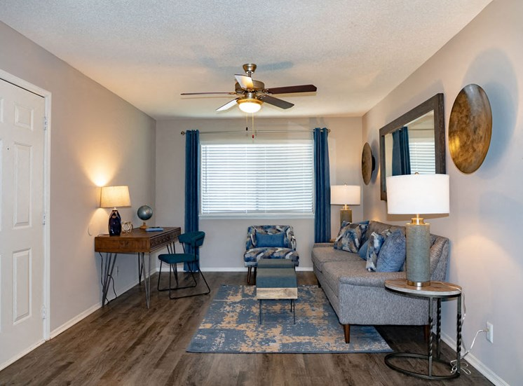 Spacious living room in North Macon apartment at Forest Ridge