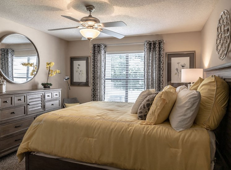 Bedroom in Forest Pointe apartment with expansive window