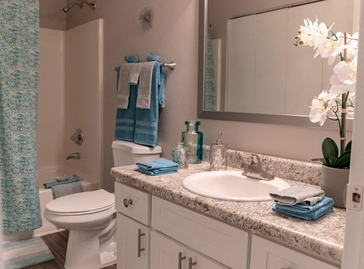 full bathroom in a Macon GA apartment with tub toilet and sink