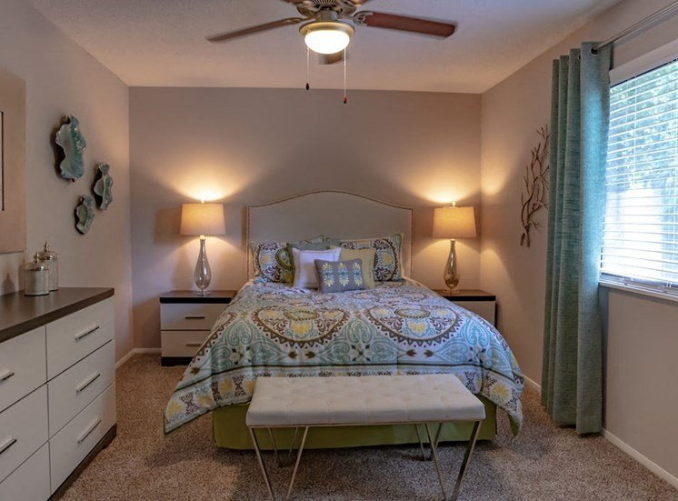 furnished bedroom at Magnolia Crossing apartments in Macon GA