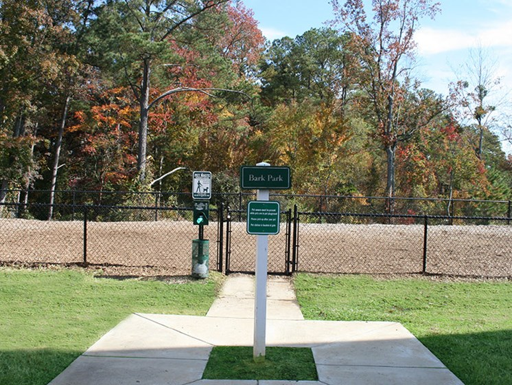 Fenced in Bark Park at Cresent Comons Fayetteville Apartment Community