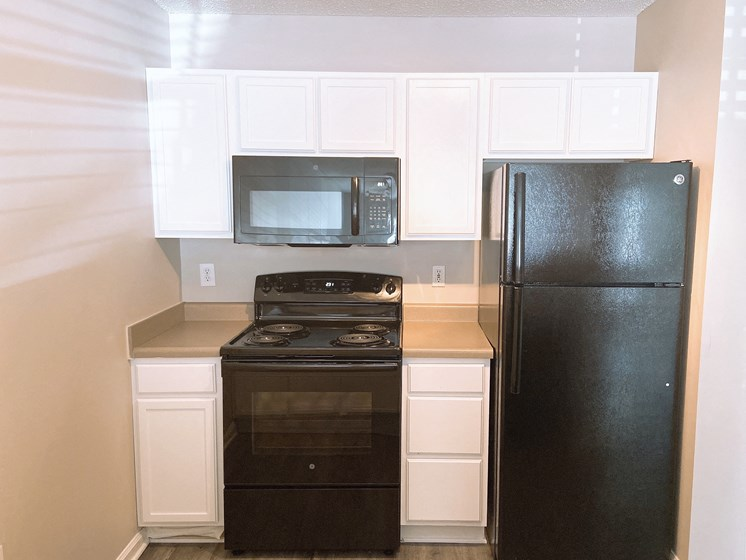 Fayetteville apartment kitchen with black appliances