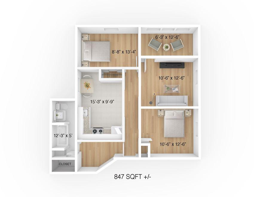2 Bed 1 Bath Floor Plan at 105 Clarke Apartment, Winnipeg