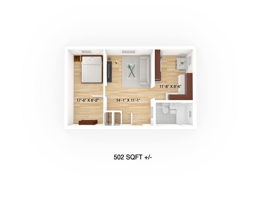 One Bedroom Floor Plan at 122 Langside, Winnipeg