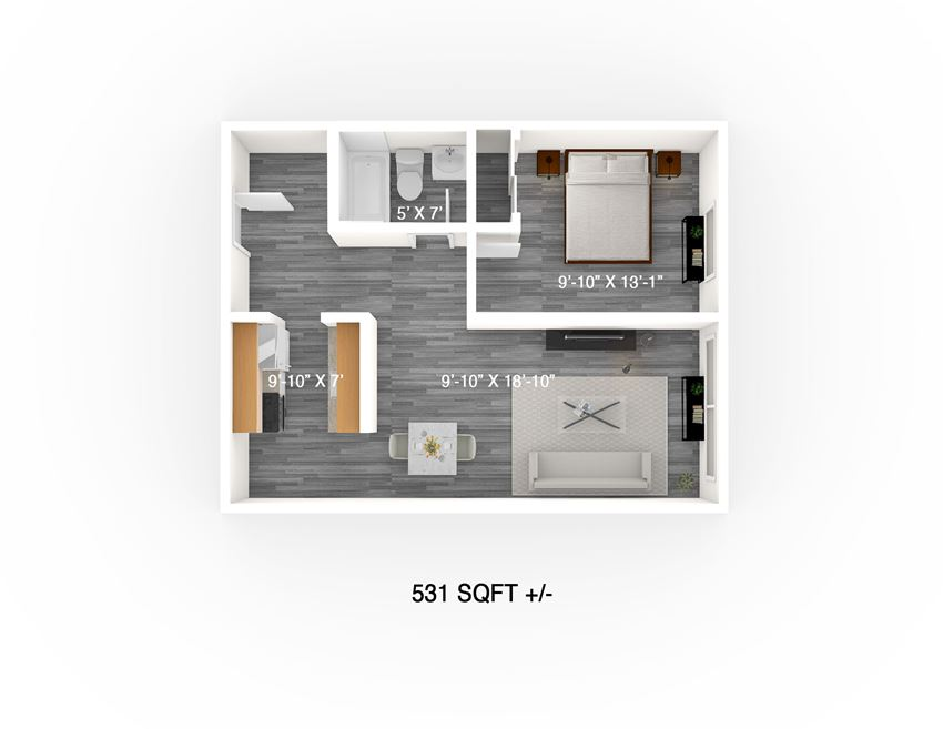 One Bedroom Floor Plan at 275 Midwinter Apartment, Winnipeg