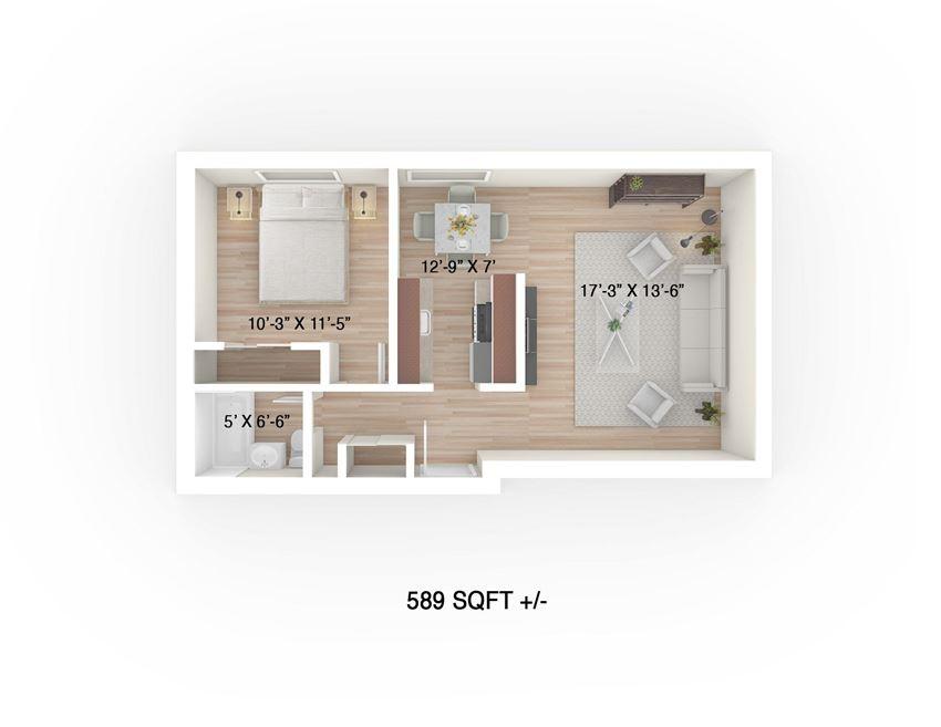 One-Bedroom Floor Plan at 30 Hargrave Apartment Suites, Winnipeg
