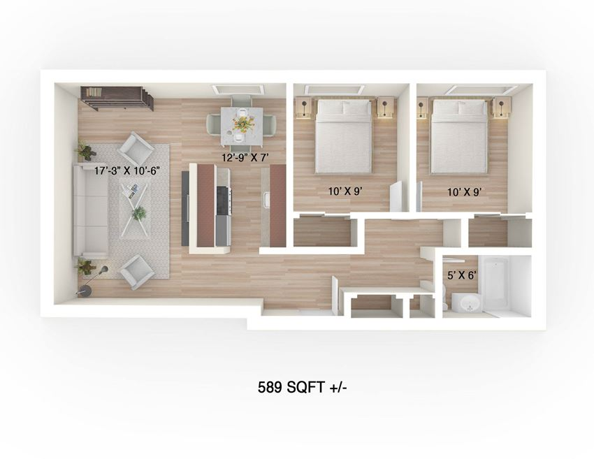 Two-Bedroom Floor Plan at 30 Hargrave Apartment Suites, Winnipeg