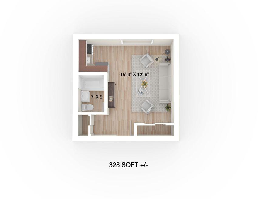 Studio Floor Plan at 30 Hargrave Apartment Suites, Winnipeg