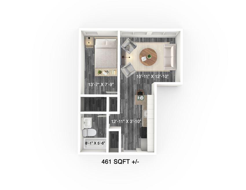 1 Bed 1 Bath Floor Plan at 300 Tache Apartment, Winnipeg