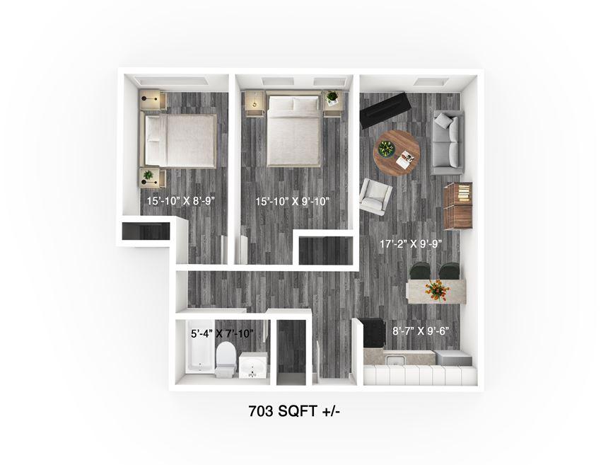 2 Bed 1 Bath Floor Plan at 300 Tache Apartment, Winnipeg
