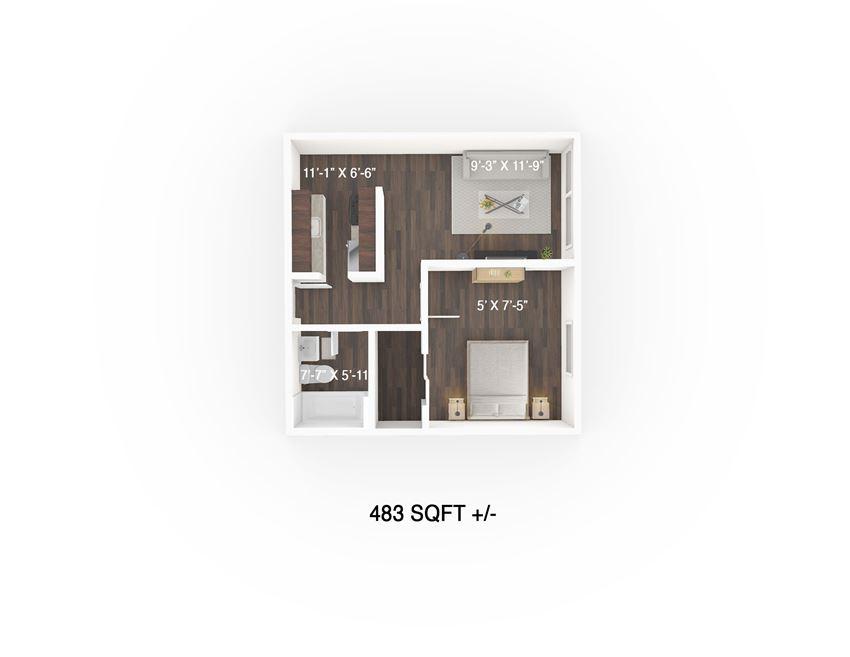 One Bedroom Floor Plan at 333 Edison Apartment, Winnipeg