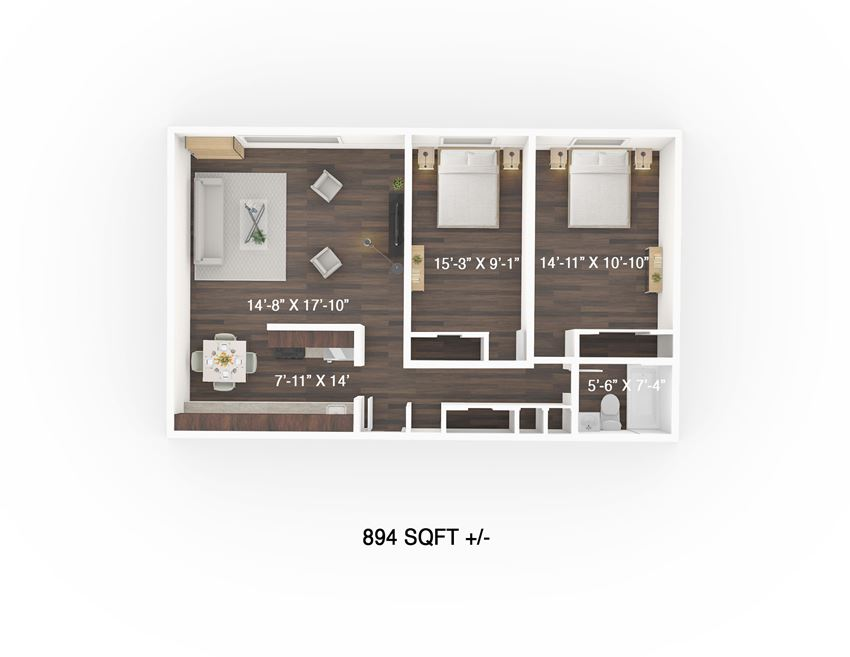 Two Bedroom Floor Plan at 333 Edison Apartment, Winnipeg