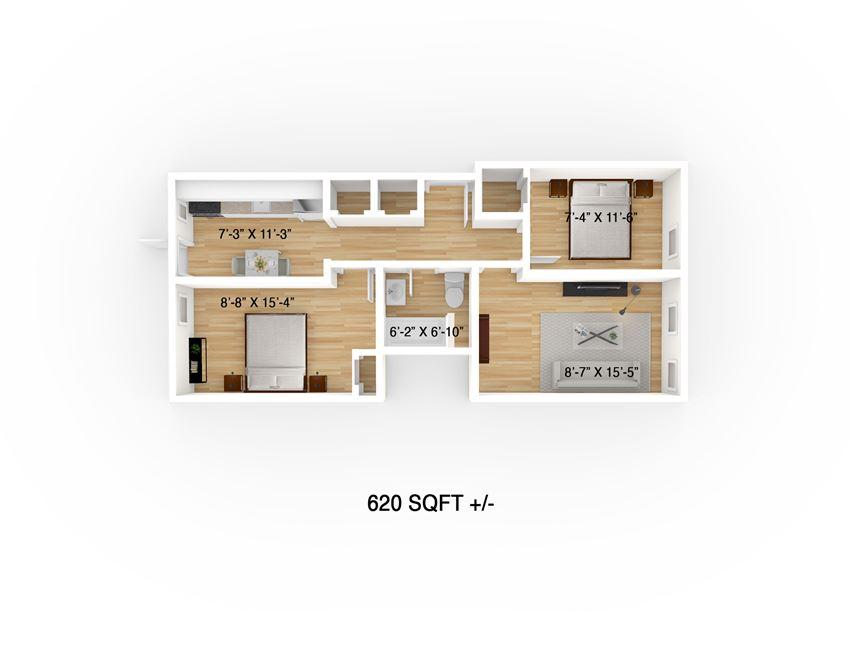 Two Bedroom Floor Plan at 634 Broadway Apartment, Winnipeg