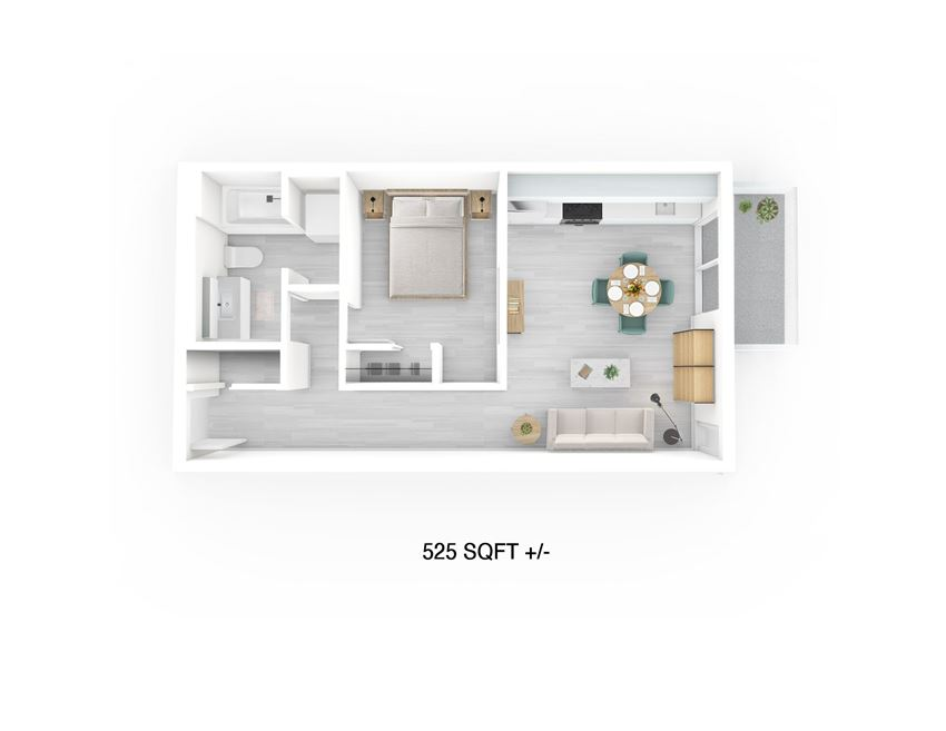 1 Bed 1 Bath Floor Plan at 703 St. Anne's Road Apartment