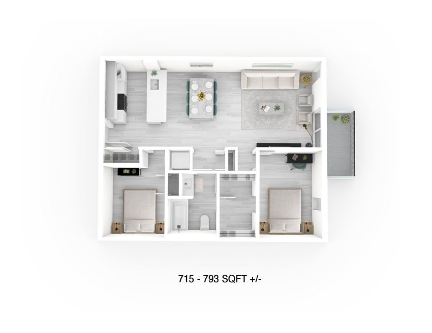 2 Bed 1 Bath Floor Plan at 703 St. Anne's Road Apartment
