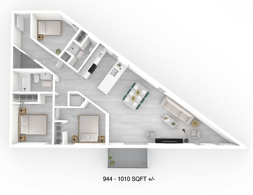 3 Bed 1 Bath Floor Plan at 703 St. Anne's Road Apartment