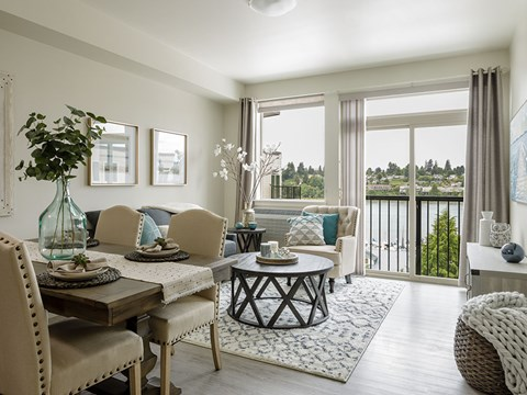 Neutral Colors Living Room With View at Harbor Heights, Olympia, WA, 98501