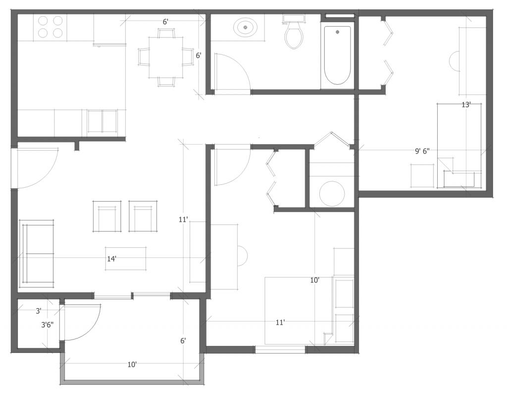 2 Bed 1 Bath Floor Plan 4