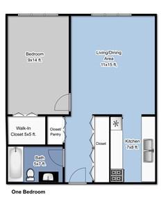 Boulevard 1 Bedroom Floorplan