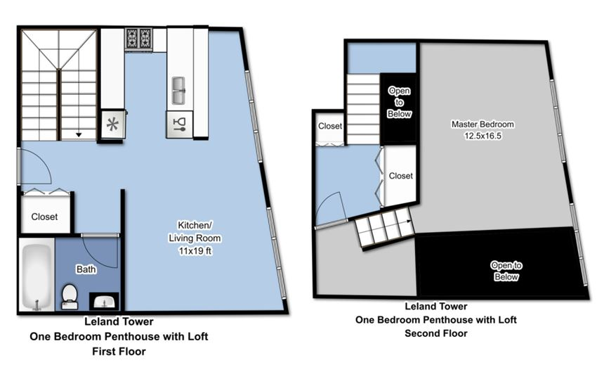 Leland Tower - 1 Bedroom Penthouse with Loft