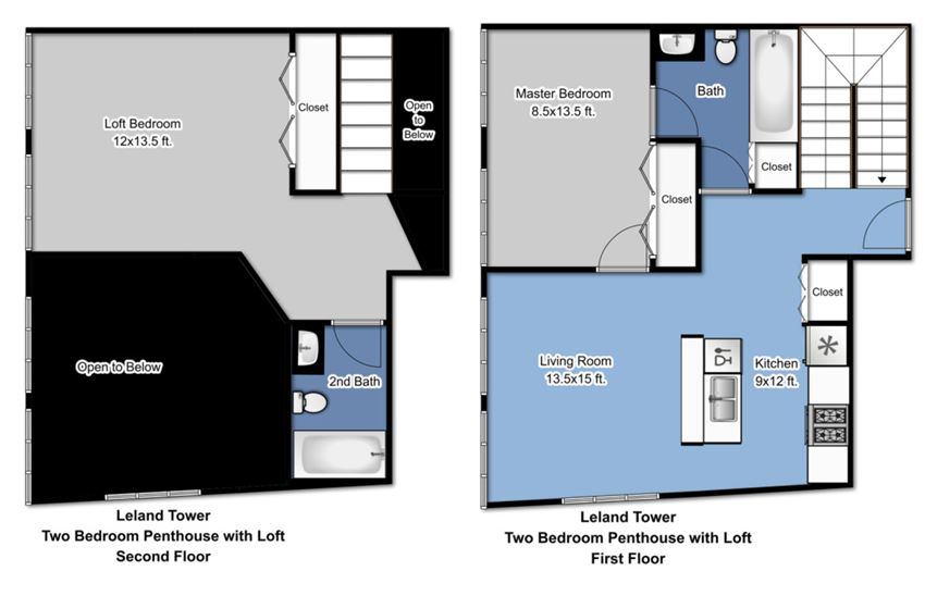Leland Tower - 2 Bedroom Penthouse with Loft