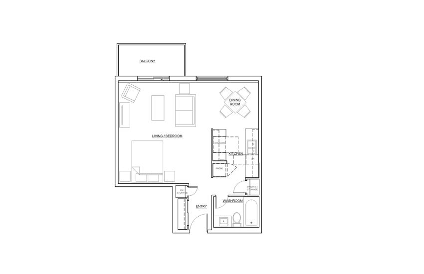 St. Lawrence Village in St. Catharines bachelor suite floor plan