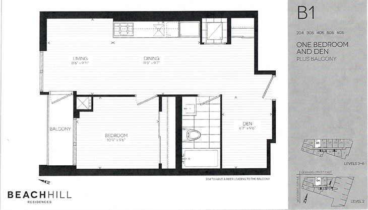 One bedroom plus den, one bathroom apartment layout at BeachHill Apartments in Toronto, ON