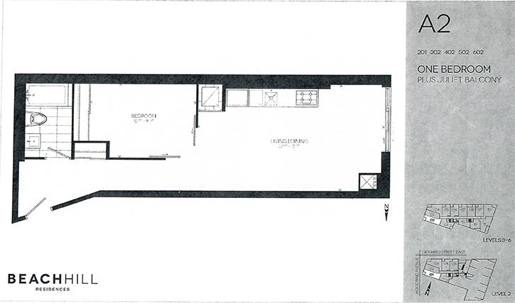 One bedroom, one bathroom apartment layout at BeachHill Apartments in Toronto, ON