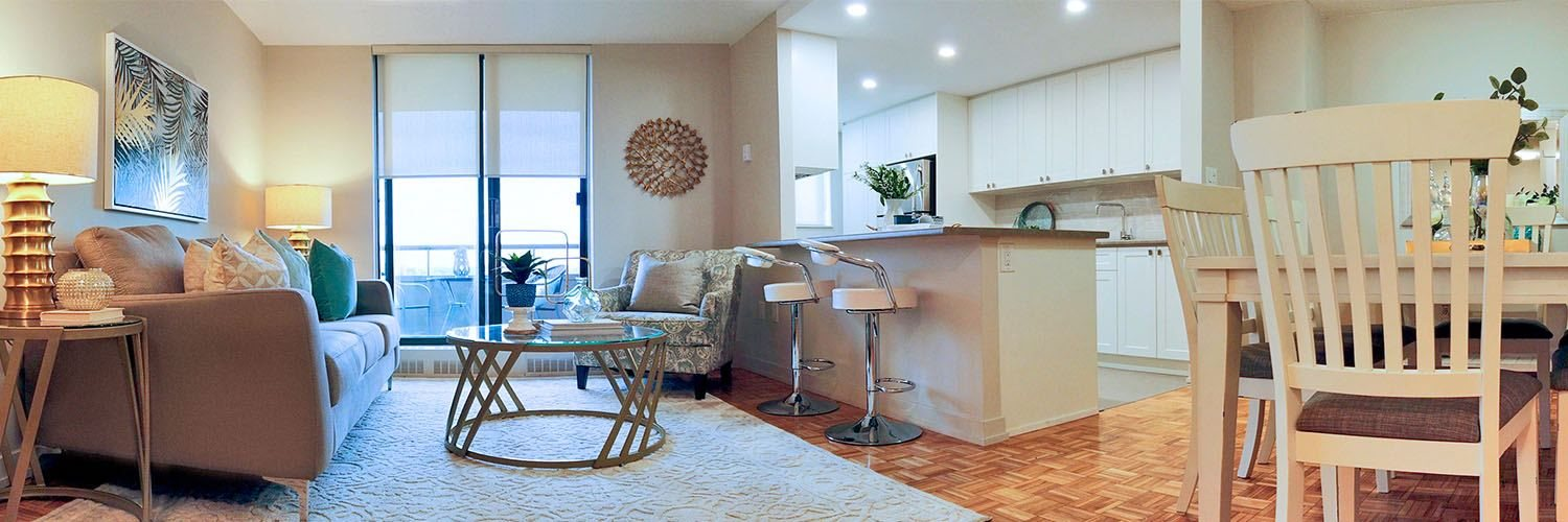 Cedarwoods Tower in Kitchener, ON open concept living room with hard surfacing flooring