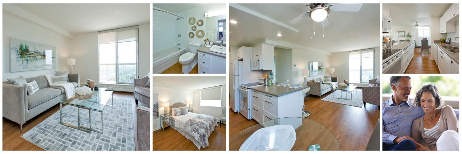 Collage of interior suite images at Concorde Apartments