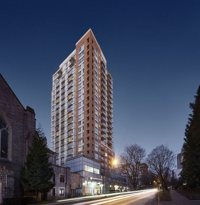 Wesley Place apartment building exterior in Vancouver, British Columbia