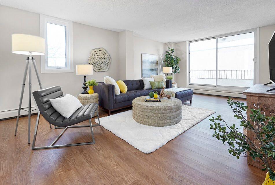 Edgehill Apartments in Edmonton, AB living room with luxury vinyl flooring throughout