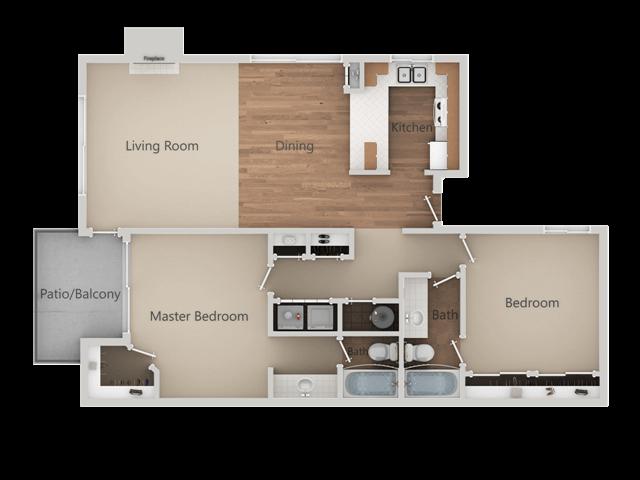 2 Bed 2 Bath Floor Plan at Edgewater Isle Apartments & Townhomes, Hanford, California
