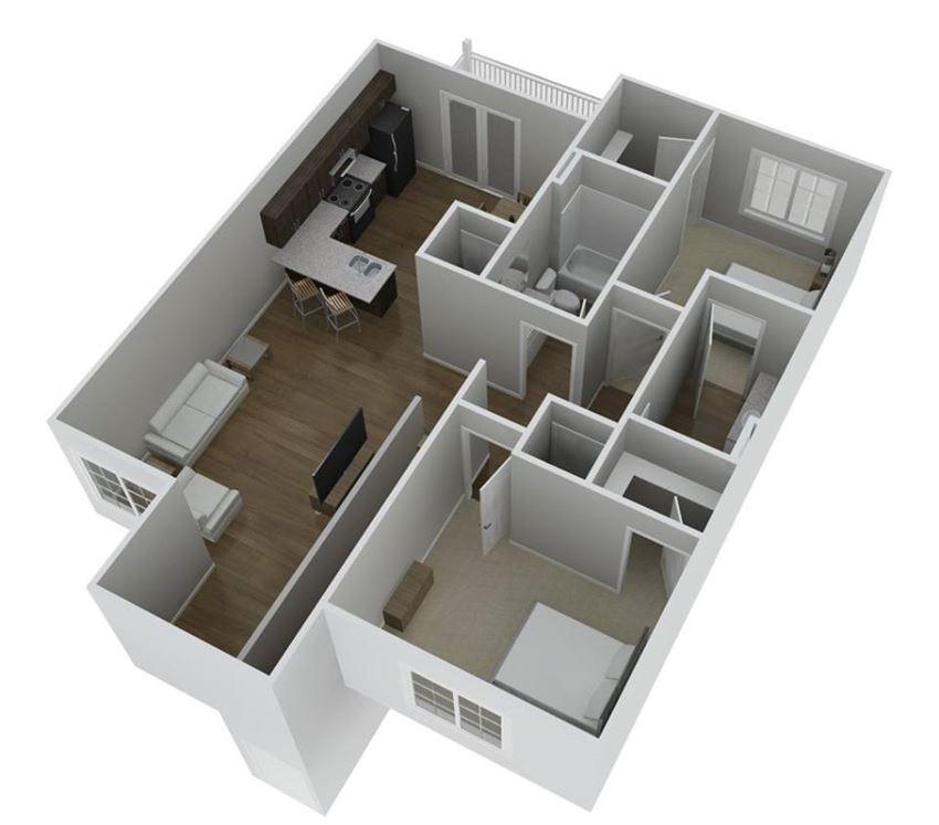 Plan D  2 Bedrooms 2 Baths