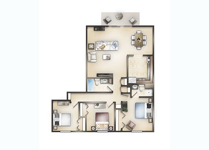 3 bedroom  2 bath with Fireplace