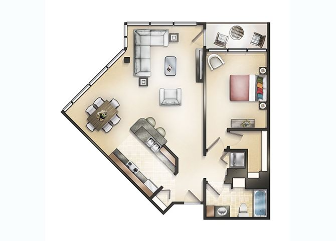 One Bedroom Penthouse