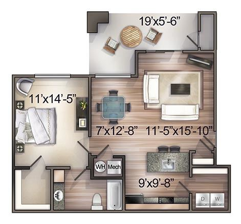 1 Bedroom (Upper Level)