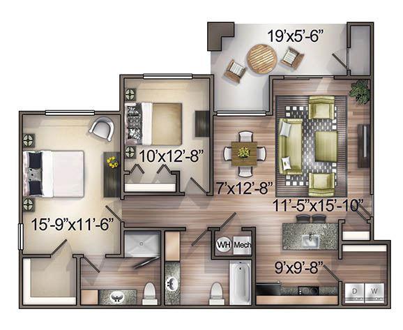 2 Bedroom (Upper Level)