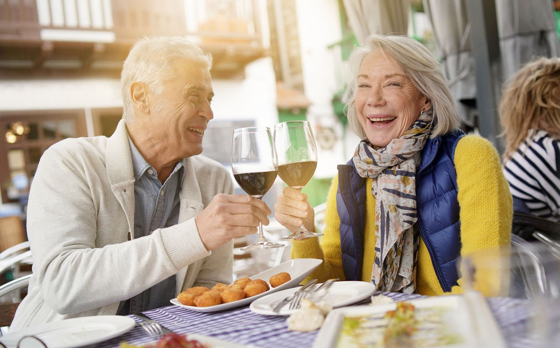 Happy Couple Enjoying Wine at Cogir of Sonoma, Sonoma, CA, 95476