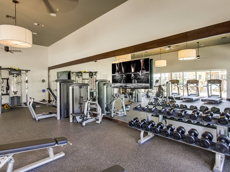 Free Weights In Fitness Center At The Club At Enclave Apartments In Chula Vista, CA
