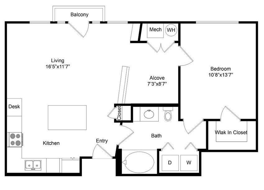 City Gate Broadway one bedroom floor plan