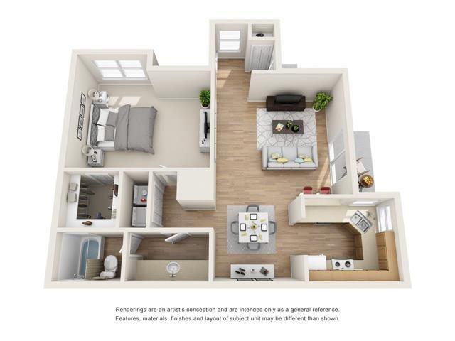 1 bed 1 bath floorplan, A2