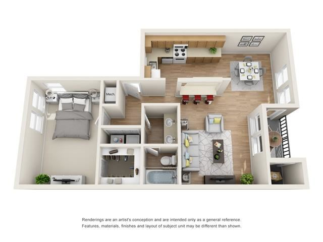 1 bed 1 bath floorplan, A3